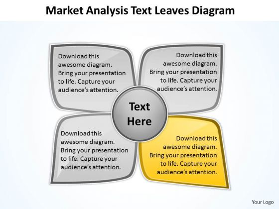 Business Strategy Diagram Market Analysis Text Leaves PowerPoint Slides