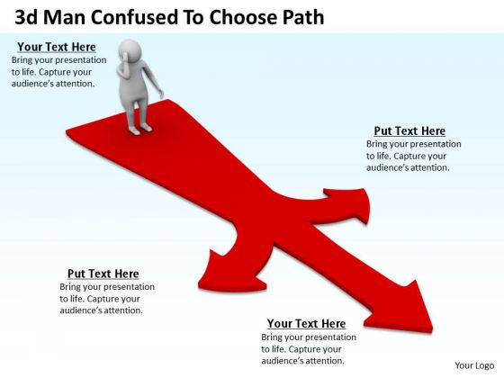 Business Strategy Examples 3d Man Confused To Choose Path Concepts