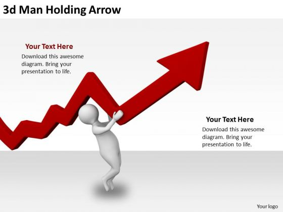 Business Strategy Examples 3d Man Holding Arrow Character Models