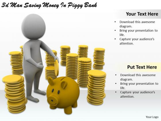 Business Strategy Examples 3d Man Saving Money Piggy Bank Character Modeling