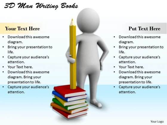 Business Strategy Examples 3d Man Writing Books Character Modeling