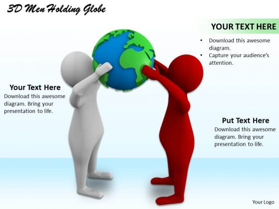 Business Strategy Examples 3d Men Holding Globe Character Modeling