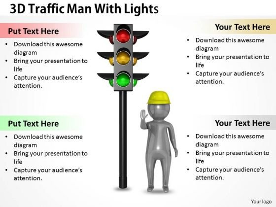Business Strategy Examples 3d Traffic Man With Lights Adaptable Concepts