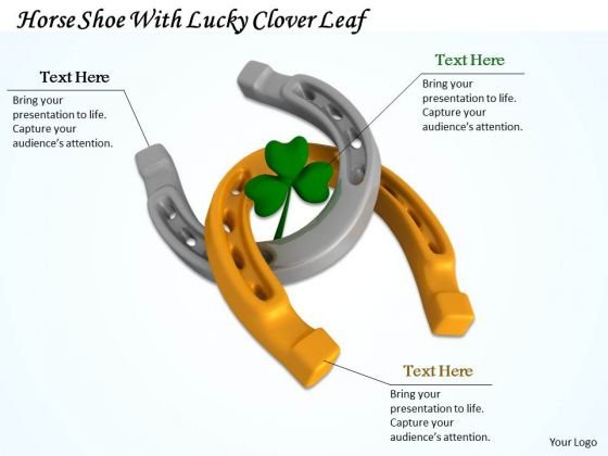 Business Strategy Examples Horse Shoe With Lucky Clover Leaf Success Images