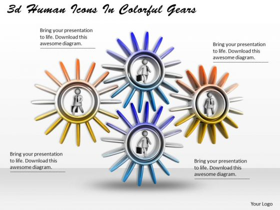 Business Strategy Execution 3d Human Icons Colorful Gears Character Models