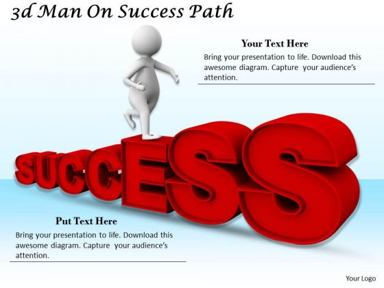 Business Strategy Execution 3d Man Success Path Character Modeling