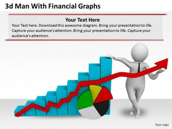 Business Strategy Execution 3d Man With Financial Graphs Concepts