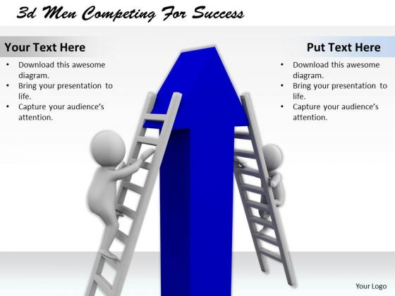 Business Strategy Execution 3d Men Competing For Success Concept