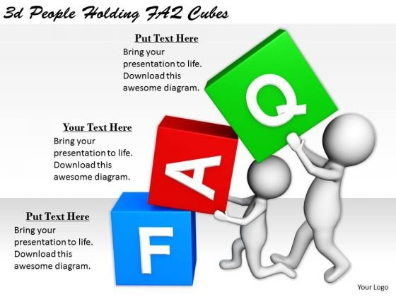 Business Strategy Execution 3d People Holding Faq Cubes Concept Statement