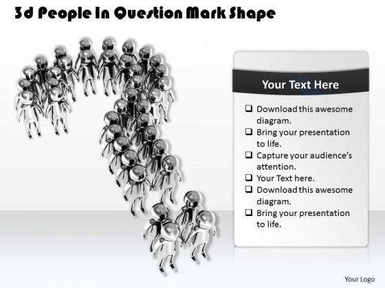Business Strategy Execution 3d People Question Mark Shape Concept
