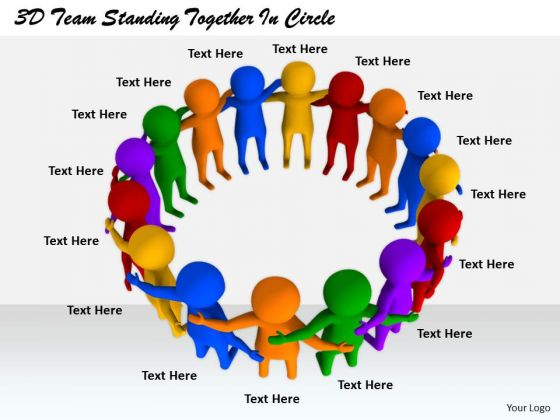 Business Strategy Execution 3d Team Standing Together Circle Concept Statement