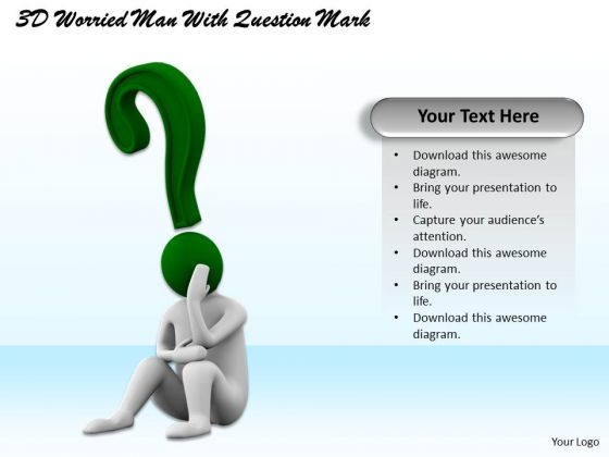 Business Strategy Execution 3d Worried Man With Question Mark Concept Statement