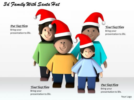 Business Strategy Formulation 3d Family With Santa Hat Character Modeling