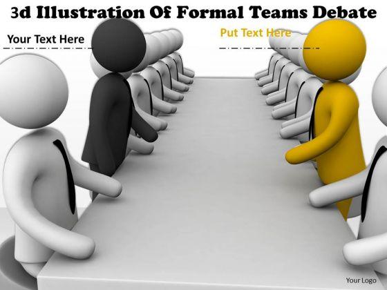 Business Strategy Formulation 3d Illustration Of Formal Teams Debate Concept Statement