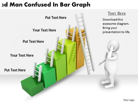 Business Strategy Formulation 3d Man Confused Bar Graph Character Modeling