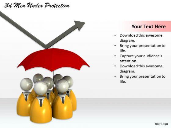 Business Strategy Formulation 3d Men Under Protection Concept