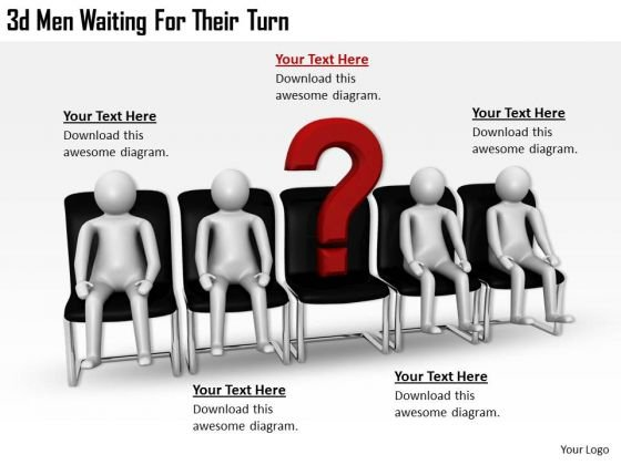 Business Strategy Formulation 3d Men Waiting Their Turn Concept