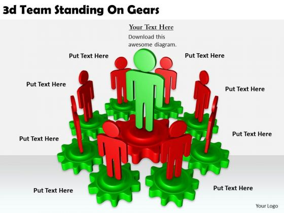 Business Strategy Formulation 3d Team Standing Gears Character