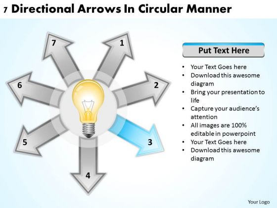 Business Strategy Formulation 7 Directional Arrows Circular Manner Ppt PowerPoint