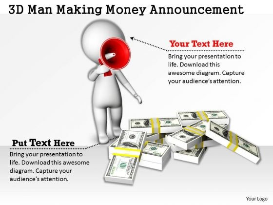Business Strategy Implementation 3d Man Making Money Announcement Characters