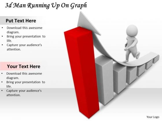 Business Strategy Implementation 3d Man Running Up Graph Concept