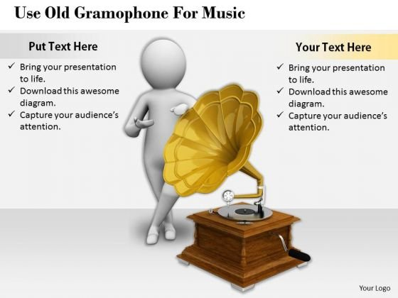Business Strategy Implementation Use Old Gramophone For Music 3d Character Models