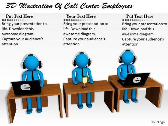 Business Strategy Innovation 3d Illustration Of Call Center Employees Basic Concepts