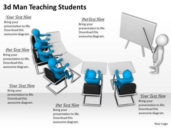 Business Strategy Innovation 3d Man Teaching Students Concept