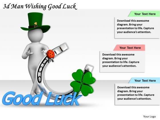 Business Strategy Innovation 3d Man Wishing Good Luck Concept