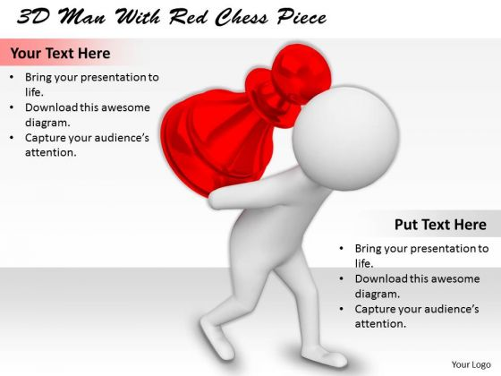 Business Strategy Innovation 3d Man With Red Chess Piece Basic Concepts