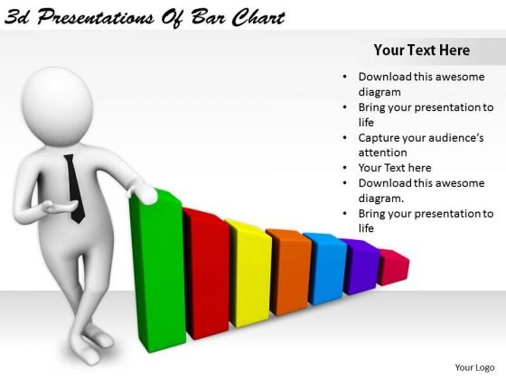 Business Strategy Innovation 3d Presentations Of Bar Chart Character Modeling