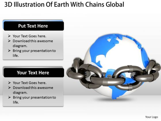 Business Strategy Model 3d Illustration Of Earth With Chains Global Environment Stock Images