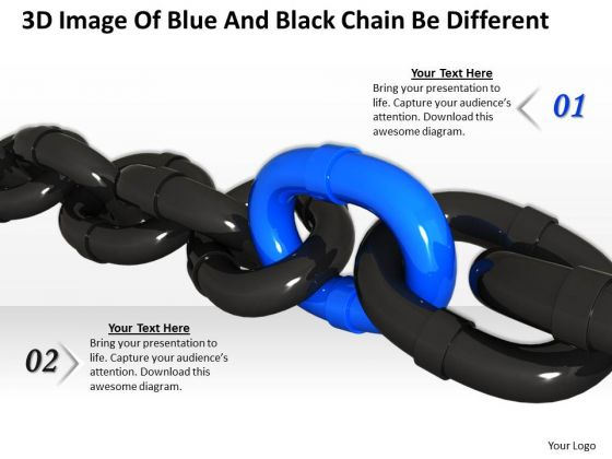 Business Strategy Model 3d Image Of Blue And Black Chain Be Different Stock Images