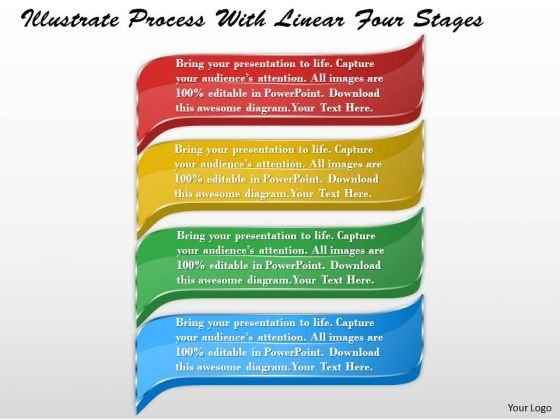 Business Strategy Model Illustrate Process With Linear Four Stages Strategic Plan Ppt Slide