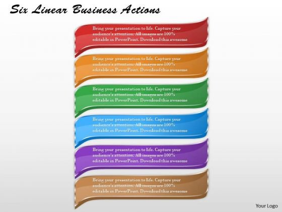 Business Strategy Model Six Linear Actions Strategic Plan Ppt Slide