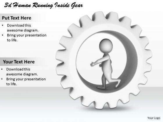 Business Strategy Plan 3d Human Running Inside Gear Character Modeling