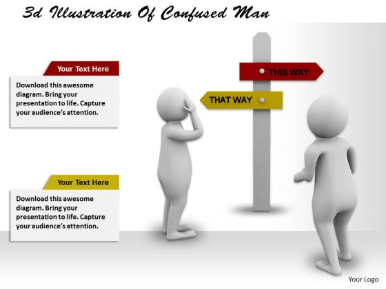 Business Strategy Plan 3d Illustration Of Confused Man Concepts