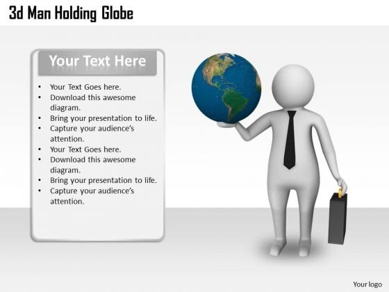 Business Strategy Plan 3d Man Holding Globe Character Modeling