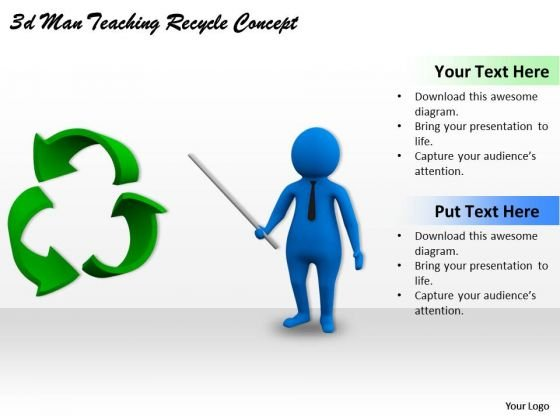 Business Strategy Plan 3d Man Teaching Recycle Concept Adaptable Concepts