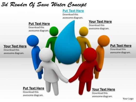 Business Strategy Plan 3d Render Of Save Water Concept Basic Concepts