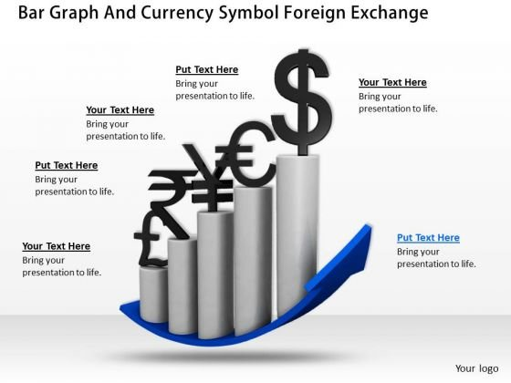 Business Strategy Plan Bar Graph And Currency Symbol Foreign Exchange Clipart 1