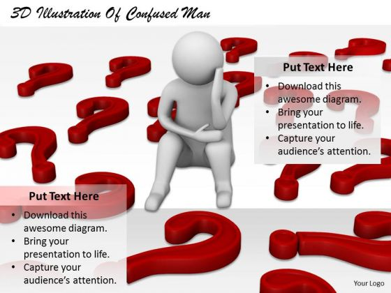 Business Strategy Plan Template 3d Illustration Of Confused Man Concept