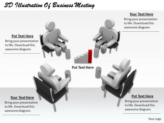 Business Strategy Plan Template 3d Illustration Of Meeting Concept