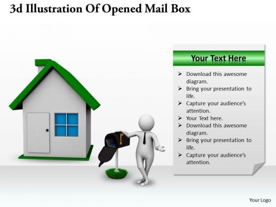 Business Strategy Plan Template 3d Illustration Of Opened Mail Box Character Models