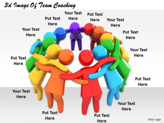 Business Strategy Plan Template 3d Image Of Team Coaching Characters