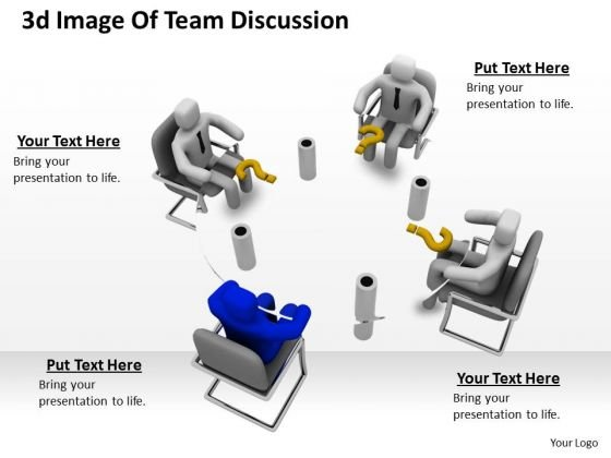 Business Strategy Plan Template 3d Image Of Team Discussion Characters