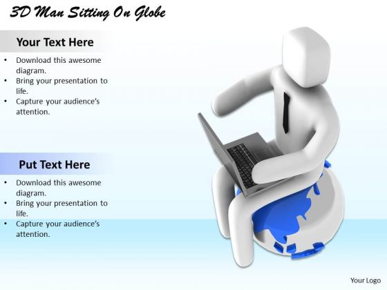 Business Strategy Plan Template 3d Man Sitting On Globe Characters