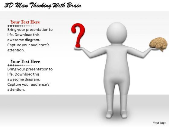 Business Strategy Plan Template 3d Man Thinking With Brain Characters