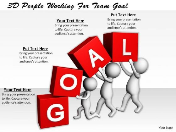 Business Strategy Plan Template 3d People Working For Team Goal Adaptable Concepts