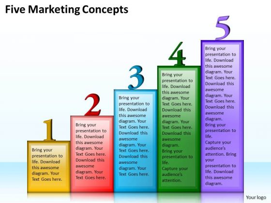 Business Strategy Plan Template Five Marketing Concepts Strategic Ppt Slide